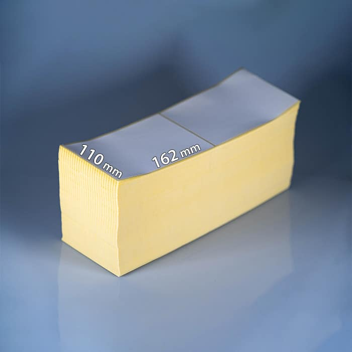 2.000 Stück Thermo-Haftetiketten auf Falz, 110 x 162 mm, mit Perforation nach jedem Etikett